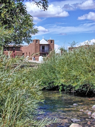 Taos Pueblo: New Mission Church from across Red Willow Creek